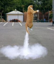 Cat taking off with cloud of smoke.