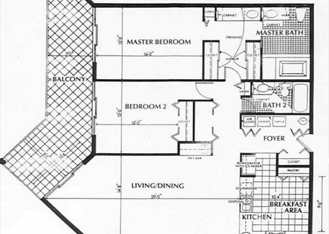 A floor Plan layout for a two bedroom condo rental at the1800 Atlanic Resort in Key West