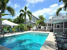 Tropical landscaping and pool at the Historic Key West Inn