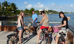 Riding bikes in Key West.