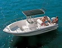 Center console rental boat with bimini top.