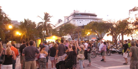 Crusie ship docked at Key West's Mallory Square