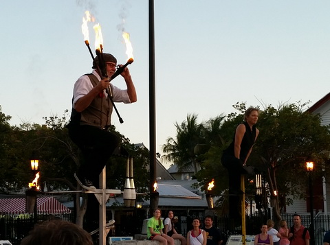 Fire juggler entertainer performing at Mallory Square