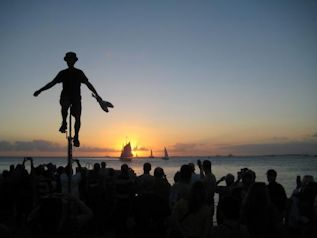 Juggler at Mallory Square in Key West at sunset