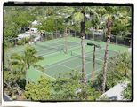 Aerial view of resort tennis court located in Key West.