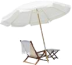 Beach umbrella and lawn chair.
