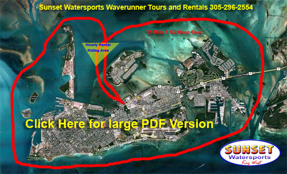 Map detailing route of Sunset Watersports Key West Waverunner Tour