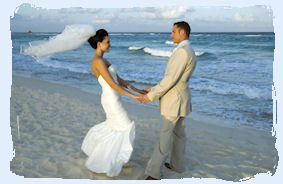 Couple being married on a Key West beach.